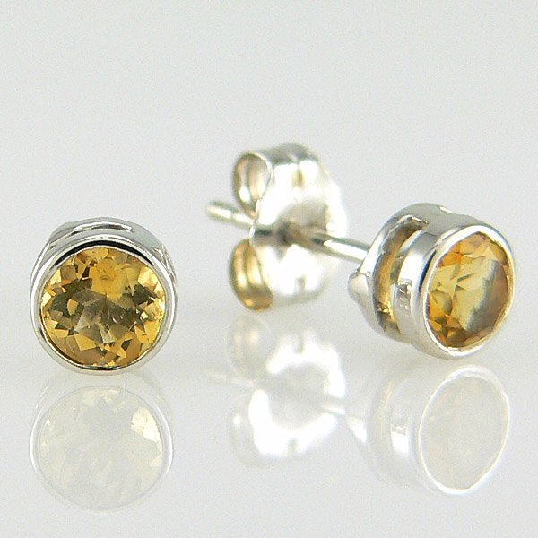201100038: 14KW ROUND CITRINE-4MM STUD EARRINGS