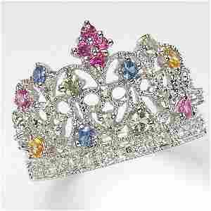 301100095: 14KT DIAMOND MULTI-SAPPHIRE CROWN RING 0.57T