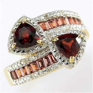 14KY GARNET DIAMOND BYPASS RING SZ 9