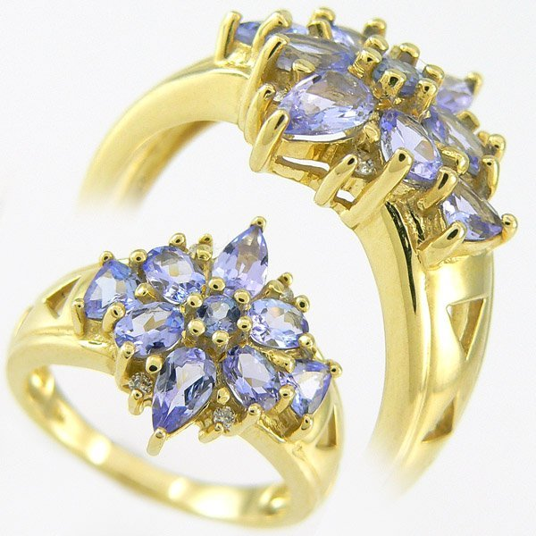 506100426: 10KT TANZANITE DIAMOND FLOWER RING 0.71TCW S