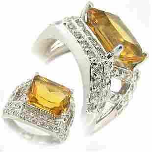 DIAMOND & CITRINE LADIES RING 5.00 CTW 14KT.