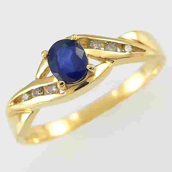14KT SAPPHIRE DIAMOND RING 0.40TCW SZ 7