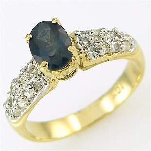 SAPPHIRE & DIAMOND RING 1.50 CTW 10KT.GOLD