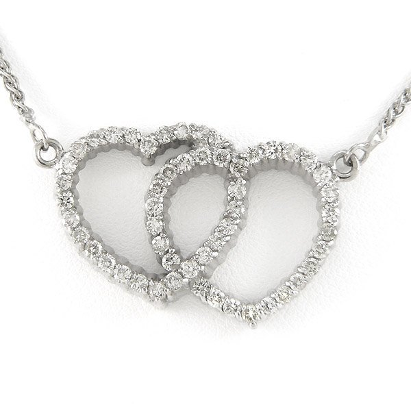 212140627: 14KT DIAMOND DOUBLE HEART NECKLACE 1.60TCW 1