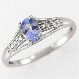 401100075: 14KT TANZANITE DIAMOND RING 0.45TCW SZ 7