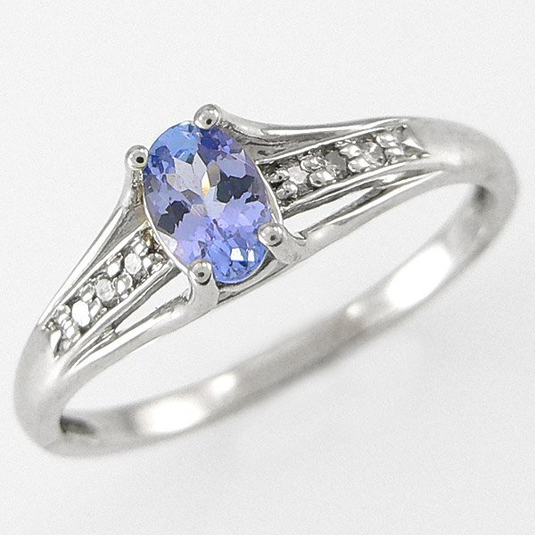 401100075: 14KT TANZANITE DIAMOND RING 0.45TCW SZ 7