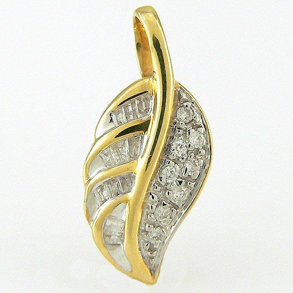 201100071: 14KT DIAMOND LEAF PENDANT 0.20TCW