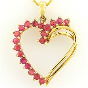 14KT RUBY HEART PENDANT 1.02CTS