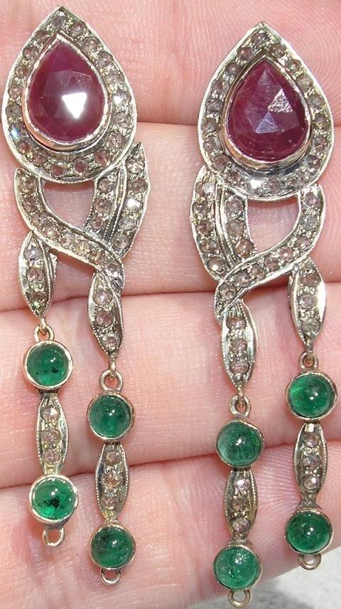 2221: Diamond Gemstone Earrings 12.65 CTS.