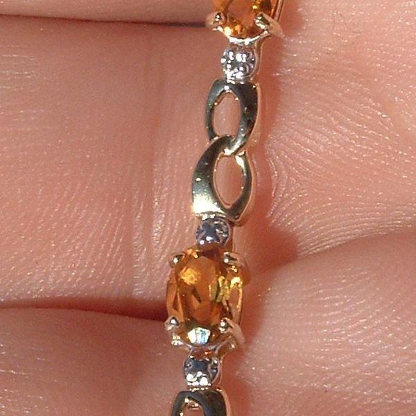 4010: 14KT Citrine Diamond Bracelet 4.24 TCW