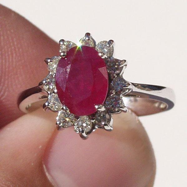 4016: 14KT Ruby Diamond Ring 1.75 TCW