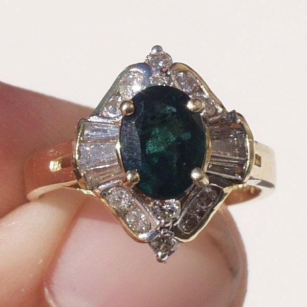4017: 14KT Emerald Diamond Ring 2.19 TCW
