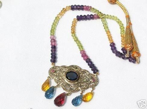 4268: Renaissance Gemstone Diamond Necklace! 12+ Carats