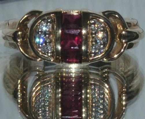 3002: 14KT Ruby Diamond Ring 0.61 TCW