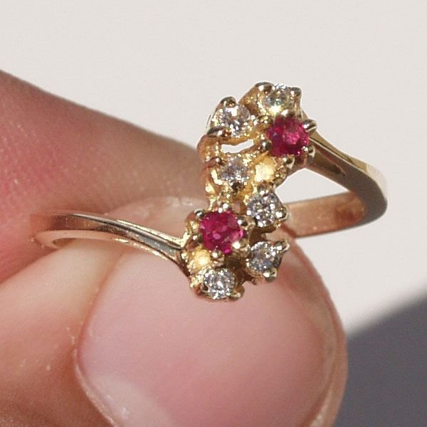 3007: 14KT Ruby Diamond Ring