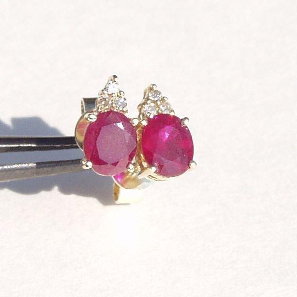 3022: 14KT Ruby Diamond Earrings 1.64 TCW