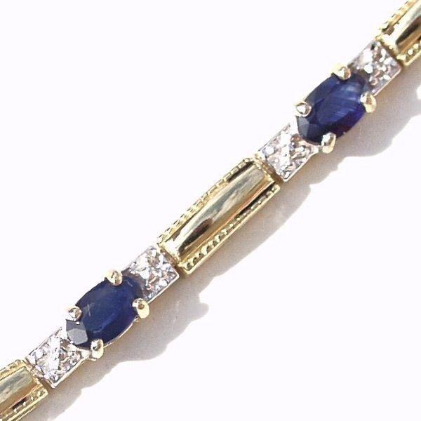 3001: 14KT Sapphire Diamond Bracelet 2.98 TCW