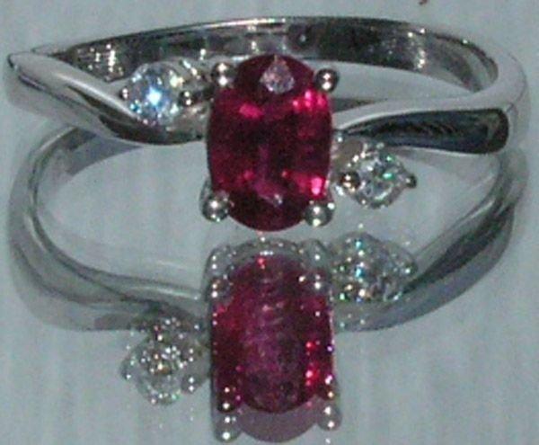 3012: 18KT Ruby Diamond Ring 0.77 TCW