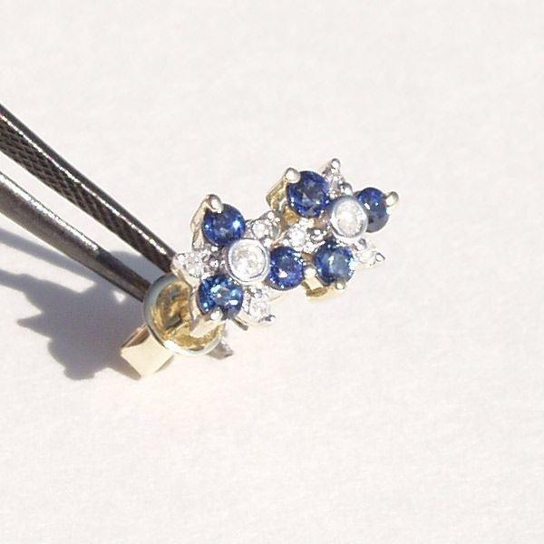 5023: 14KT Sapphire Diamond Earrings 0.58 TCW