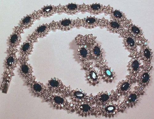 5220: 18KT Sapphire Diamond Necklace Set 29+ TCW