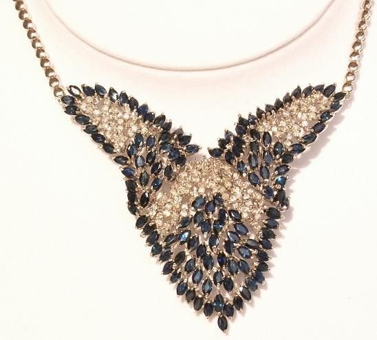 5285: 14KT Sapphire Diamond Necklace 36+ CTS.