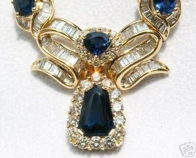 5262: 18KT Sapphire-Diamond Necklace 10.85 CTS.