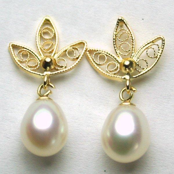 3017: 14KT Fancy Pearl Drop Earrings