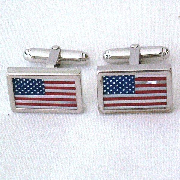 3021: SS American Flag MOP Cuff Links