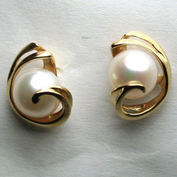 4011: 14KT Fancy Pearl Earrings