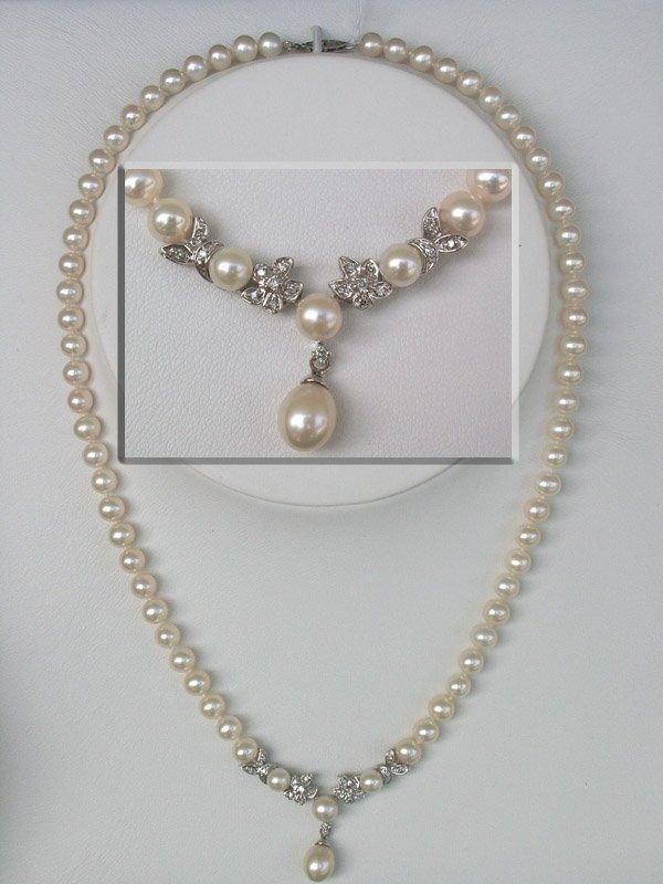 4008: 10KT Pearl Diamond Necklace