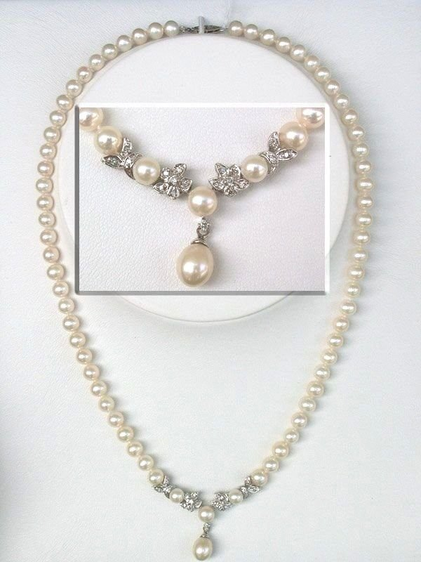 5008: 10KT Pearl Diamond Necklace