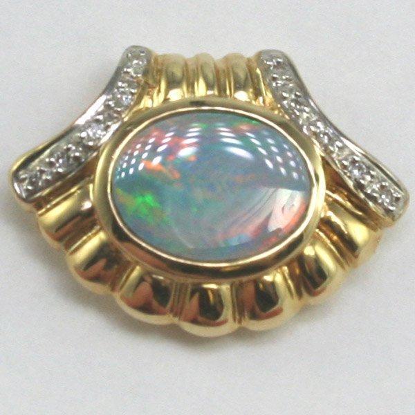 1006: 14KT Opal Doublet Diamond Pendant