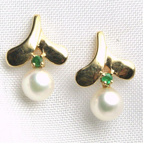 1030: 14KT Fancy Pearl & Emerald Earrings