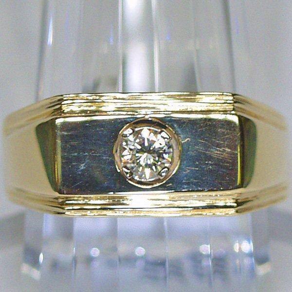 1327: 14KT Solitaire Gentleman's Ring 0.23 TCW