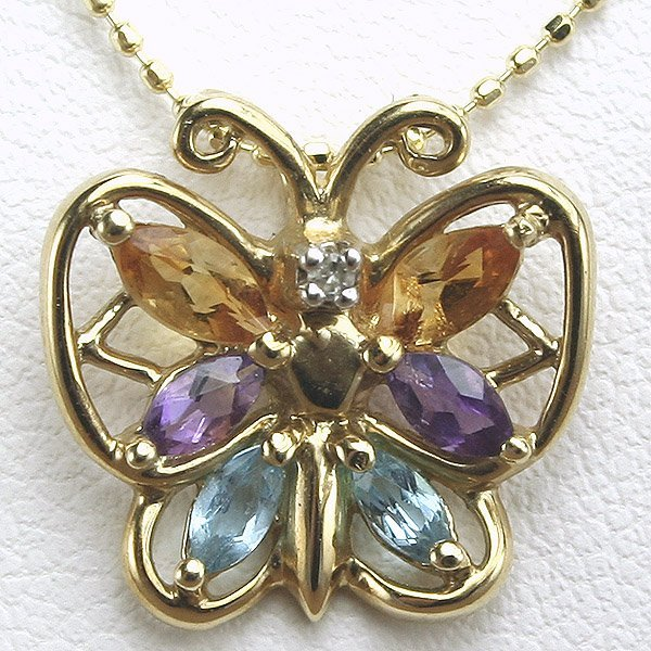 2014: 14KT Mutli Semi Precious and Diamond Butterfly Pe