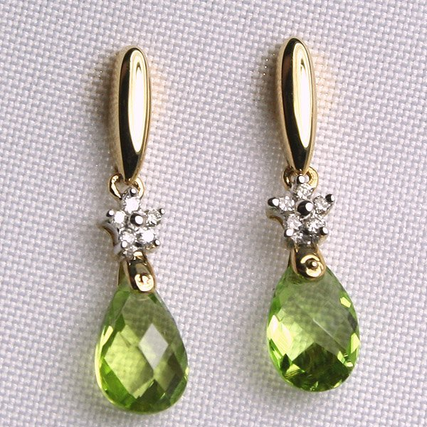3017: 14KT Peridot & Diamond Earrings 0.05 CT