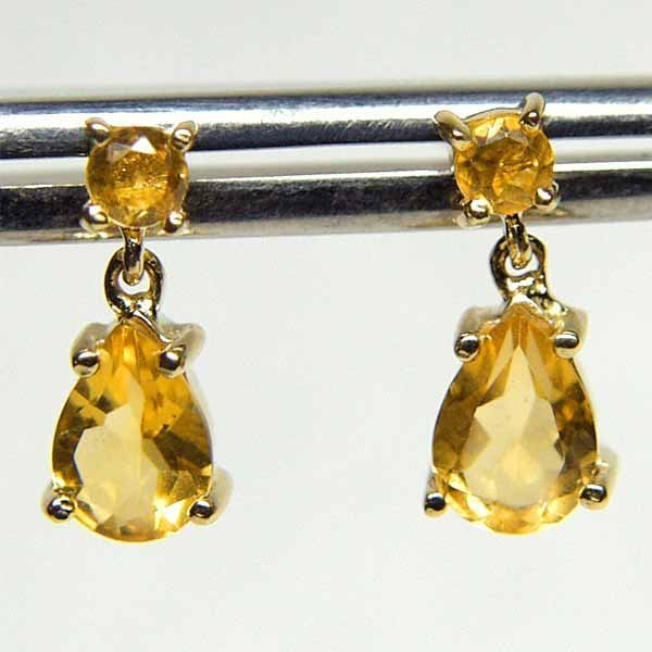 3024: 14KT Citrine Drop Earrings