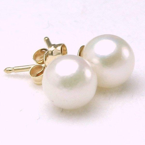 3027: 14KT 6mm Pearl Stud Earrings