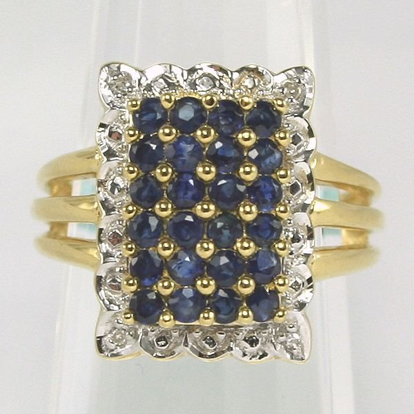 3265: 18KT Sapphire & Diamond Fancy Ring