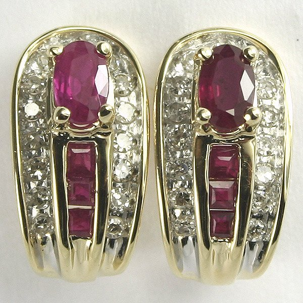 3010: 14KT Ruby and Diamond Earrings 1.13TCW