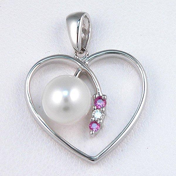 4009: 14KT Pk Sapphire Diamond Pearl Pendant
