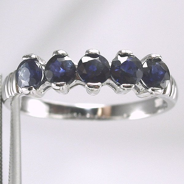 4434: 14KT White Gold Sapphire Ring