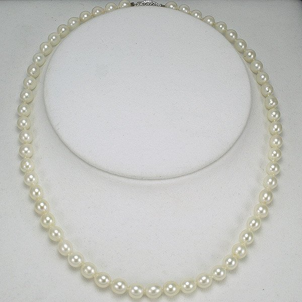 4028: 14KT Akoya Pearl Necklace 6.5-7MM 17in