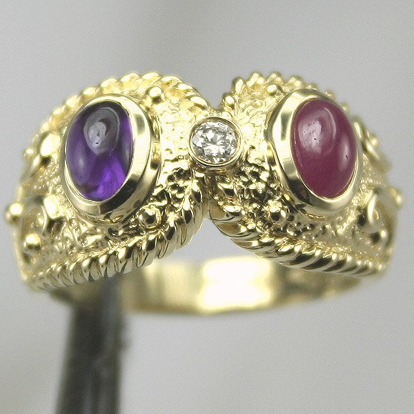1002: 14KT Amethyst Ruby Diamond Ring .05CT