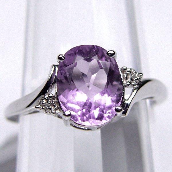 1004: Amethyst & Diamond Ring 8 x 10 MM