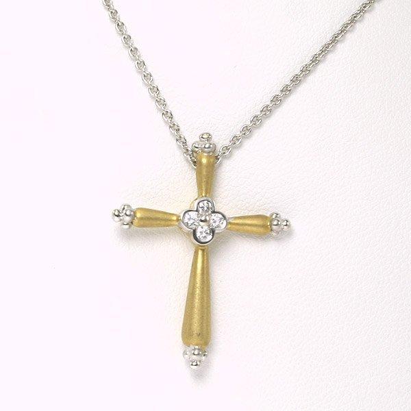 1032: 18KT C. Krypell Gold & Diamond Cross