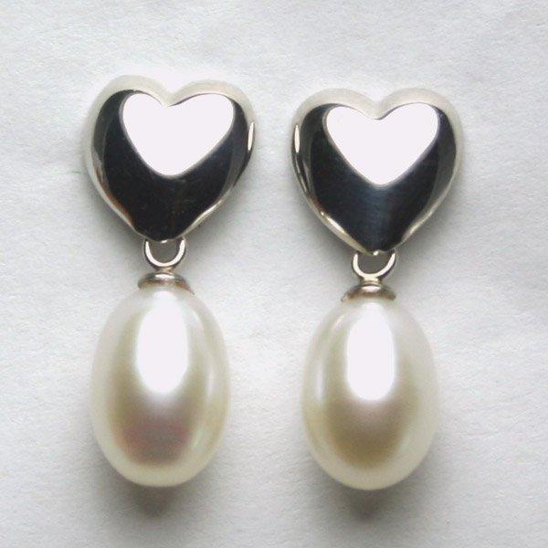 1006: 14KT WG Heart and Pearl Drop Earrings