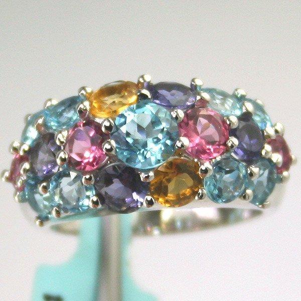 1154: 18KT Multi Semi Precious Fancy Ring