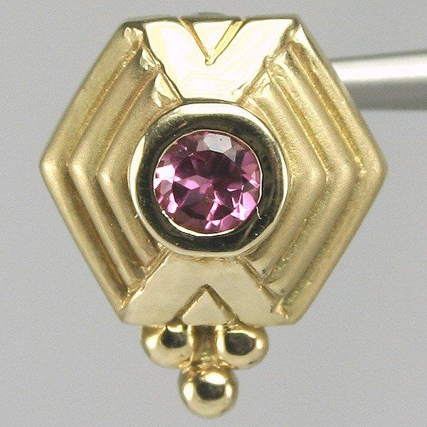 2070: 14KT Round Pink Tourmaline Fancy Pendant