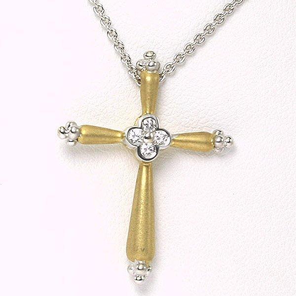 4425: 18KT C. Krypell Gold & Diamond Cross